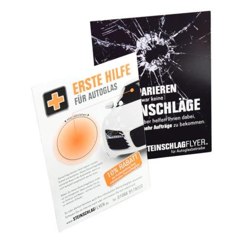 DIN A6 Format Steinschlagflyer Beispiele