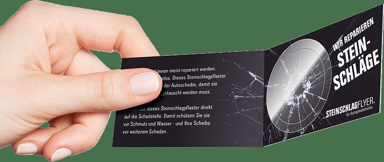 Steinschlagflyer Klappkarte